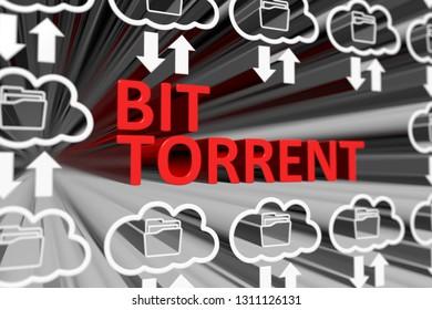 BIT TORRENT concept blurred background 3d render illustration