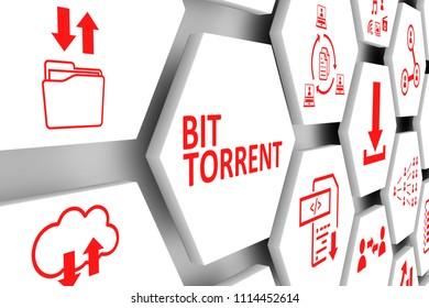 BIT TORRENT concept cell background 3d illustration