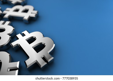 Bitcoin 3d illustration concept with silver Bitcoin symbols over blue background
