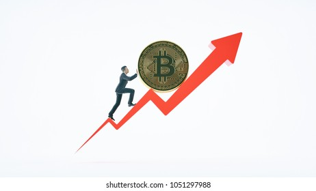 Bitcoin arrow up for increasing value and businessman.Gains and success in crypto bitcoin investments. Financial upswing concept.