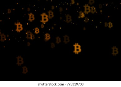 Bitcoin background, crypto virtual payment finance, BTC background, BTC mining. Background with signs of Bitcoin. Shining Bitcoin abstract background.