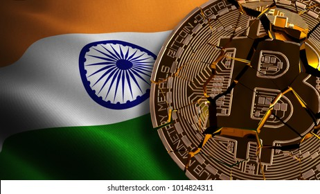 India's Bitcoin BANNED, Not Illegal, Ban BTC, block chain technology for crypto currency, 3D Rendering
