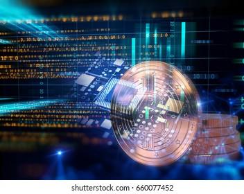 Concept de réseau en Bitcoin et en bloc sur fond technologique illustration 3d