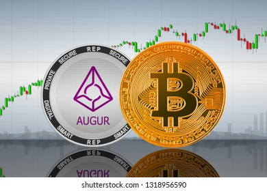 Bitcoin (BTC) and Augur (REP) coins on the background of the chart; bitcoin and augur cryptocurrency; crypto exchange. 3d illustration