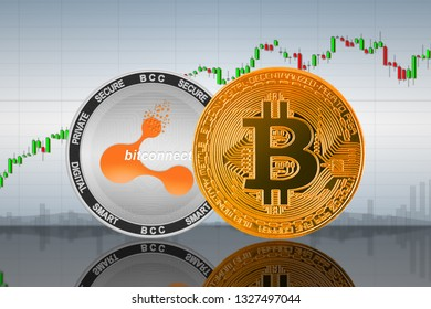 Bitcoin (BTC) and BitConnect (BCC) coins on the background of the chart; bitcoin and bitconnect cryptocurrency; crypto exchange. 3d illustration