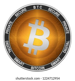 Bitcoin (BTC) coin isolated on white background; bitcoin cryptocurrency