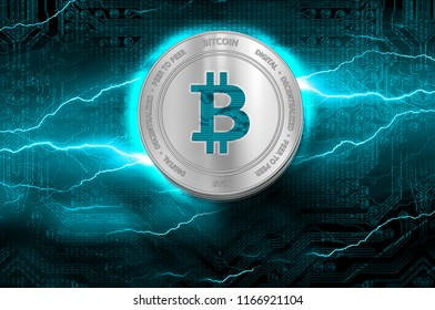 Bitcoin (BTC) digital crypto currency. Stack of silver coins on the background of lightning. Cyber money.