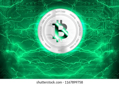 Bitcoin (BTC) digital crypto currency. Silver coin on the background of lightning. Cyber money.