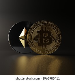 Bitcoin BTC Ethereum ETH Cryptocurrency 3D Render Gold Silver