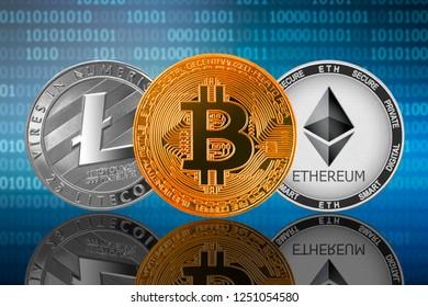 Bitcoin (BTC), Ethereum (ETH) and Litecoin (LTC) coins on the binary code background; bitcoin vs ethereum vs litecoin