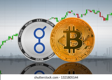 Bitcoin (BTC) and Golem (GNT) coins on the background of the chart; bitcoin and golem cryptocurrency; crypto exchange. 3d illustration