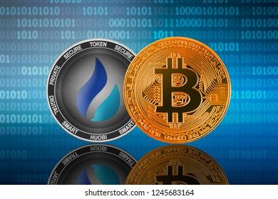 Bitcoin (BTC) and Huobi Token (HT) on the binary code background; bitcoin vs huobi