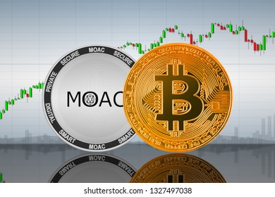 Bitcoin (BTC) and MOAC coins on the background of the chart; bitcoin and moac cryptocurrency; crypto exchange
