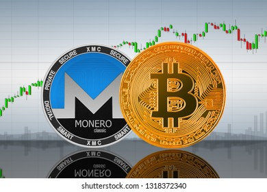 Bitcoin (BTC) and Monero Classic (XMC) coins on the background of the chart; bitcoin and monero classic cryptocurrency; crypto exchange. 3d illustration