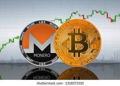 Bitcoin (BTC) and Monero (XMR) coins on the background of the chart; bitcoin and monero cryptocurrency; crypto exchange. 3d illustration