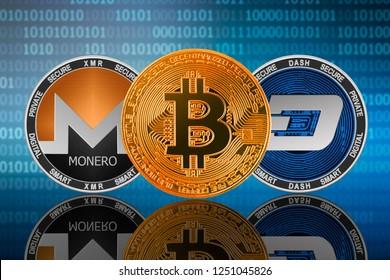 Bitcoin (BTC), Monero (XMR) and DASH coins on the binary code background; bitcoin vs dash vs monero