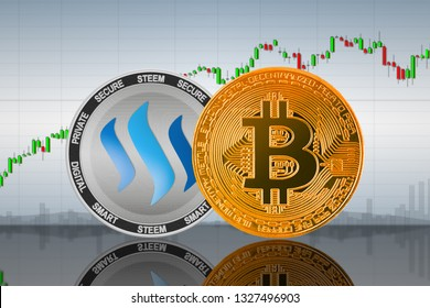 Bitcoin (BTC) and Steem coins on the background of the chart; bitcoin and steem cryptocurrency; crypto exchange