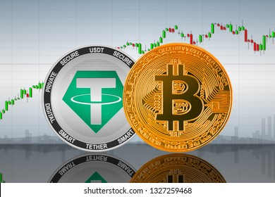 Bitcoin (BTC) and Tether (USDT) coins on the background of the chart; bitcoin and tether cryptocurrency; crypto exchange. 3d illustration