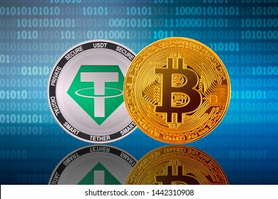Bitcoin (BTC) and Tether (USDT) coins on the binary code background; bitcoin vs tether