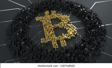 Bitcoin. Calculation of hash or mining. Currency sign builded from digits on the chip.