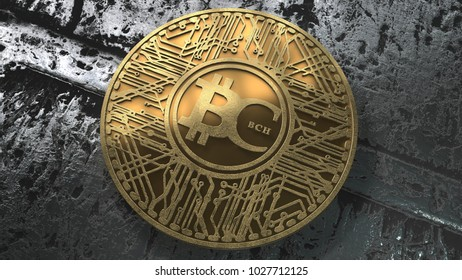 Bitcoin Cash coin (BCH) blockchain cryptocurrency altcoin 3D Render, Bitcoin Cash is a hard fork of the cryptocurrency bitcoin.