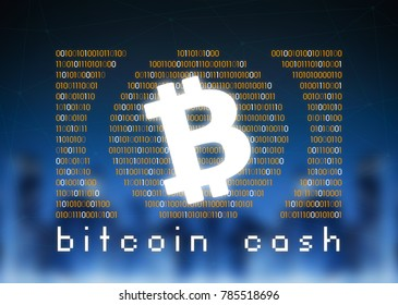 Bitcoin cash cryptocurrency, or BCH, is a digital money, on blue skyline background