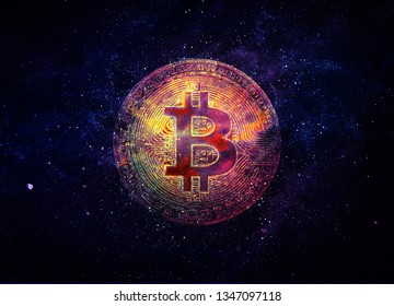 Bitcoin in the center of the black universe with stars.