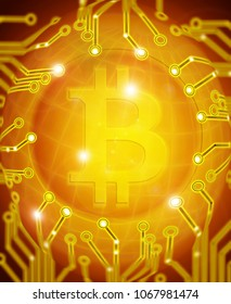 bitcoin with circuit golden digital illustration