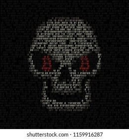 Bitcoin code eyes hacker skull on the binary dark coding texture background. Cyber crime hacking illustration. Money security crypto currency hack attack