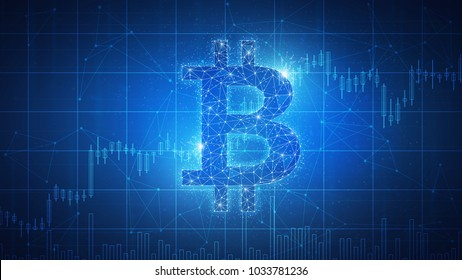 Bitcoin coin with bull trading stock chart blockchain technology futuristic hud banner. Bitcoin Gold and Cash cryptocurrency stock traiding and exchange concept on polygon network background.