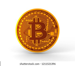 Bitcoin coin, cryptocurrency isolated. 3D rendering