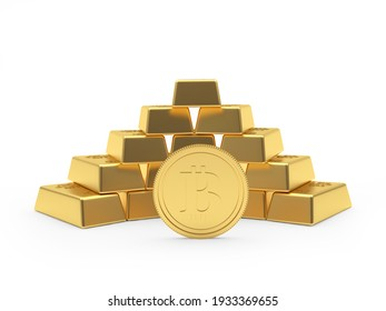 Bitcoin coin with gold bars stacked pyramid. 3d illustration