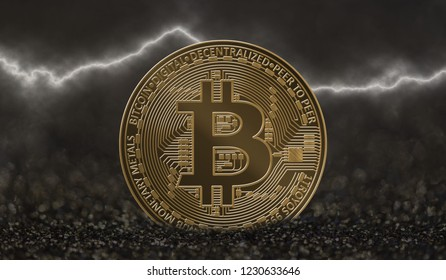 Bitcoin coin on dark background with lightning