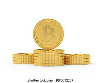 Bitcoin coin on a stack of gold coins isolated on white background. 3D illustration