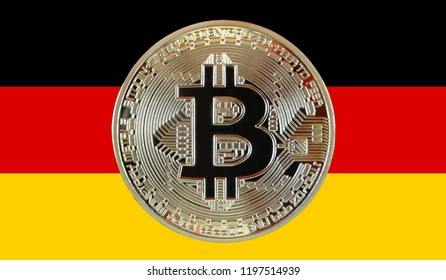 Bitcoin coin photo and german flag