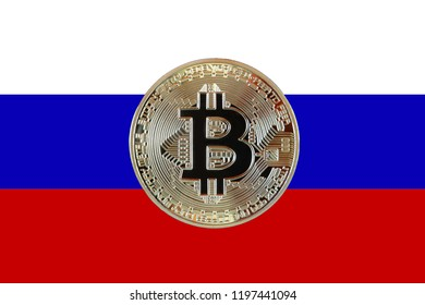 Bitcoin coin photo and russian flag