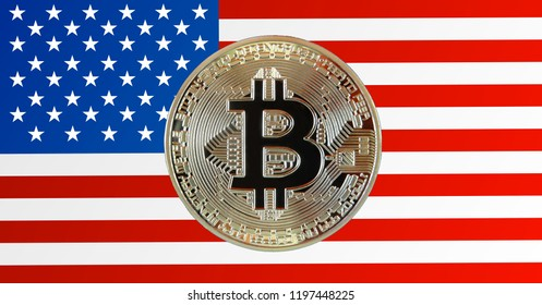 Bitcoin coin photo and US flag