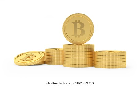 Bitcoin coins in stacks isolated on white background. 3D illustration