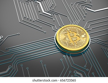 Bitcoin Concept, Golden Coin on a circuit board. 3D illustration