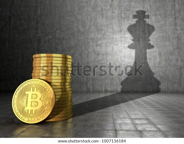 Bitcoin. The concept of leadership and growth of bitcoin. Coins of bitcoin cast a shadow on the chess piece of the king. 3D illustrations