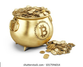 Bitcoin concept - Pot of bitcoins isolated on white - 3d illustration