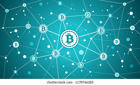 Bitcoin crypto currency and blockchain blue background
