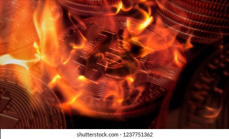 Bitcoin crypto currency burning under fire value diminishing 3D illustration rendering