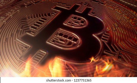 Bitcoin crypto currency burning under fire value diminishing close up 3D illustration rendering