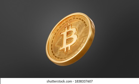 Bitcoin Crypto currency Gold BTC isolated on black background Blockchain technology 3d rendering