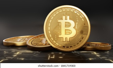 Bitcoin Crypto currency Gold Bitcoin BTC Bit Coin close up of Bitcoin coins isolated on black background Blockchain technology, bitcoin mining concept 3d rendering
