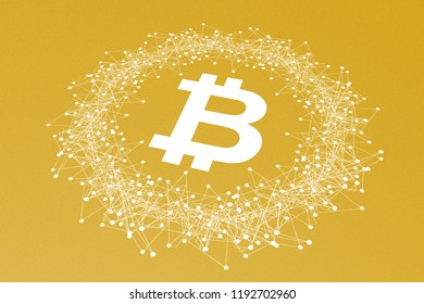 Bitcoin Crypto Currency, Illustration Perspective, Printed White on Yellow Gold Carton Paper, Symbol, Network, Dots, Function, Infographic