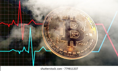 Bitcoin Crypto Currency Market Value So Volatile, Unstable Price, 3D Rendering