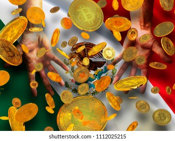 Bitcoin crypto currency Mexico flag A lot of falling  gold bitcoins Rain of golden coins fall to the palms of the hands on United Mexican States waving flag background