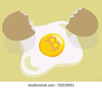 Bitcoin crypto currency money, coin ICO, egg broken white yellow breakfast illustration.